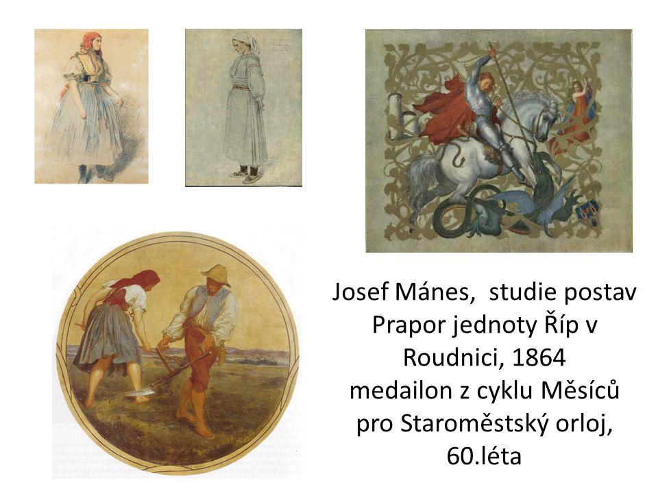 Josef Mánes, studie postav Prapor jednoty Říp v Roudnici, 1864 medailon z cyklu Měsíců pro Staroměstský orloj, 60.léta