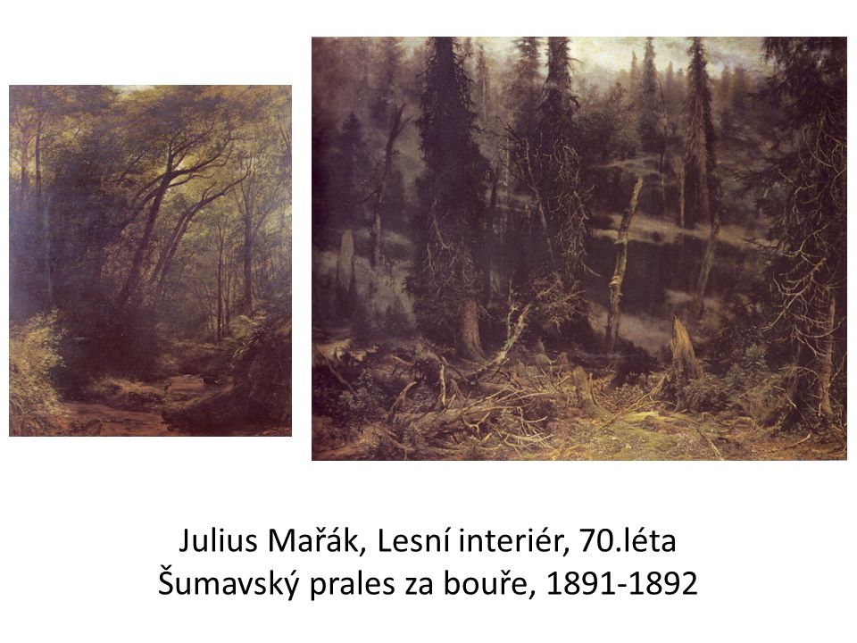 Julius Mařák, Lesní interiér, 70.léta Šumavský prales za bouře, 1891-1892