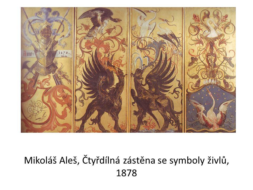 Mikoláš Aleš, Čtyřdílná zástěna se symboly živlů, 1878