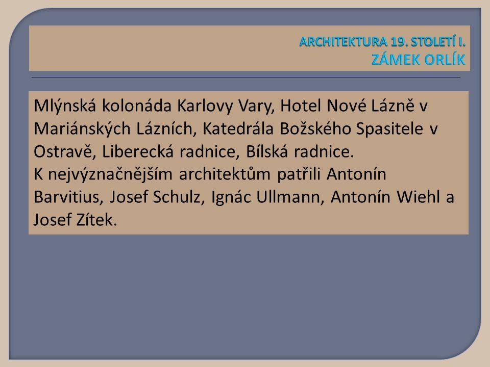 Mlýnská kolonáda Karlovy Vary, Hotel Nové Lázně v Mariánských Lázních, Katedrála Božského Spasitele v Ostravě, Liberecká radnice, Bílská radnice.