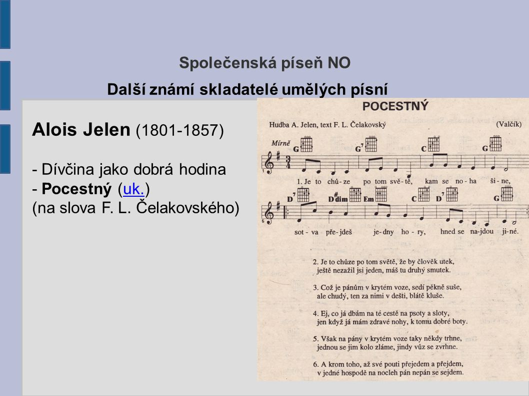 Společenská píseň NO Josef Leopold Zvonař (1824-1865) - Písně, dcery ducha mého - Čechy krásné, Čechy mé (uk.)uk ( text – Václav Jaromír Picek ) Další známí skladatelé umělých písní
