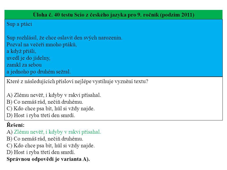 Úloha č. 40 testu Scio z českého jazyka pro 9.