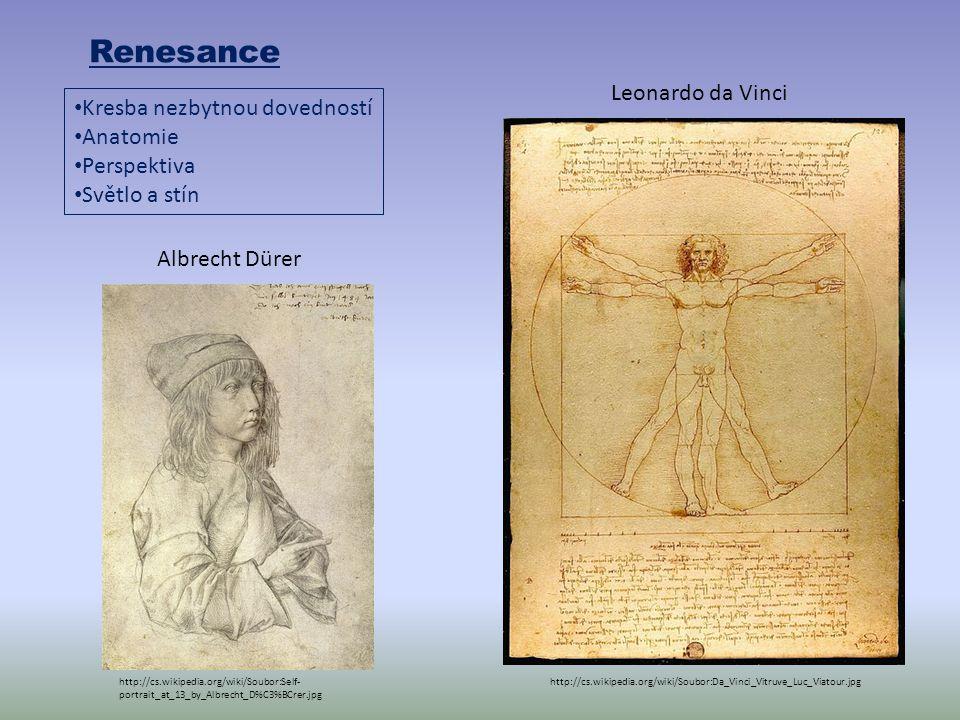 Renesance Kresba nezbytnou dovedností Anatomie Perspektiva Světlo a stín http://cs.wikipedia.org/wiki/Soubor:Da_Vinci_Vitruve_Luc_Viatour.jpg Leonardo da Vinci http://cs.wikipedia.org/wiki/Soubor:Self- portrait_at_13_by_Albrecht_D%C3%BCrer.jpg Albrecht Dürer