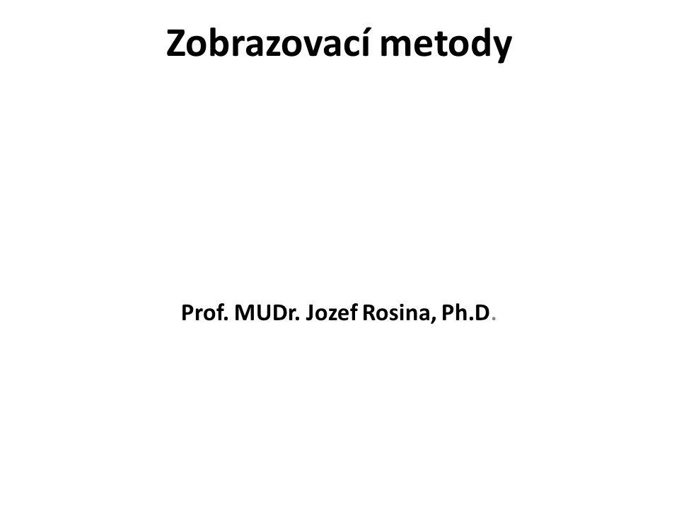 Zobrazovací metody První jednoduché lékařské přístroje zlepšovaly smyslové vnímání Zvětšovací sklo - (13.st.), Teploměr - (17.st.), Stetoskop - (19.st.), Endoskop - (19.st.) Zásadní - přístroje zviditelňující jevy lidským smyslům skryté EKG - (20.st.), Měření krevního tlaku (19.st.) zobrazovací metody - objev RTG paprsků (1895), Rentgenka s rotační anodou - (1914), Kontrastní látky - (1922), Teoretické základy CT - (1963), konstrukce CT - (1972), vznik spirálního CT (1987–1989) objev radioaktivity (1896), ϒ paprsky - (1900), Umělá radioaktivita - (1934), PET - (1976 – po objevu FDG, poprvé v historii syntetizoval chemik prof.