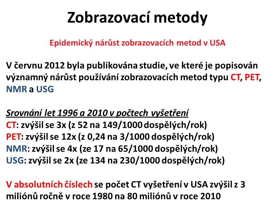 Zobrazovací metody Epidemický nárůst zobrazovacích metod v USA V červnu 2012 byla publikována studie, ve které je popisován významný nárůst používání