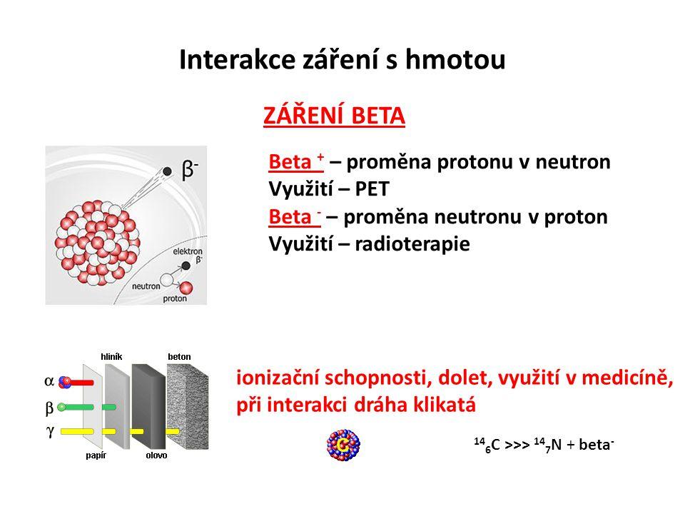 Interakce záření s hmotou ZÁŘENÍ BETA Beta + – proměna protonu v neutron Využití – PET Beta - – proměna neutronu v proton Využití – radioterapie ioniz