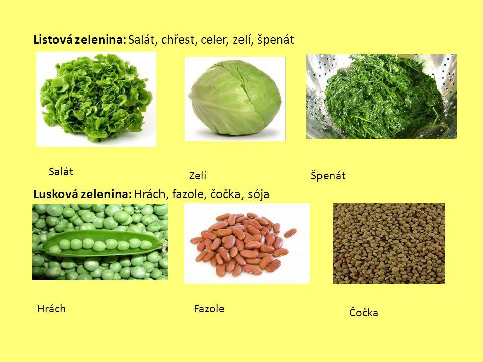 Listová zelenina: Salát, chřest, celer, zelí, špenát Lusková zelenina: Hrách, fazole, čočka, sója Salát ZelíŠpenát Hrách Fazole Čočka