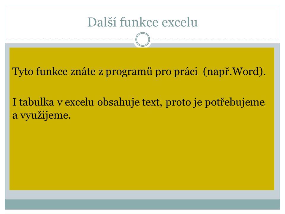 Další funkce excelu Tyto funkce znáte z programů pro práci (např.Word).