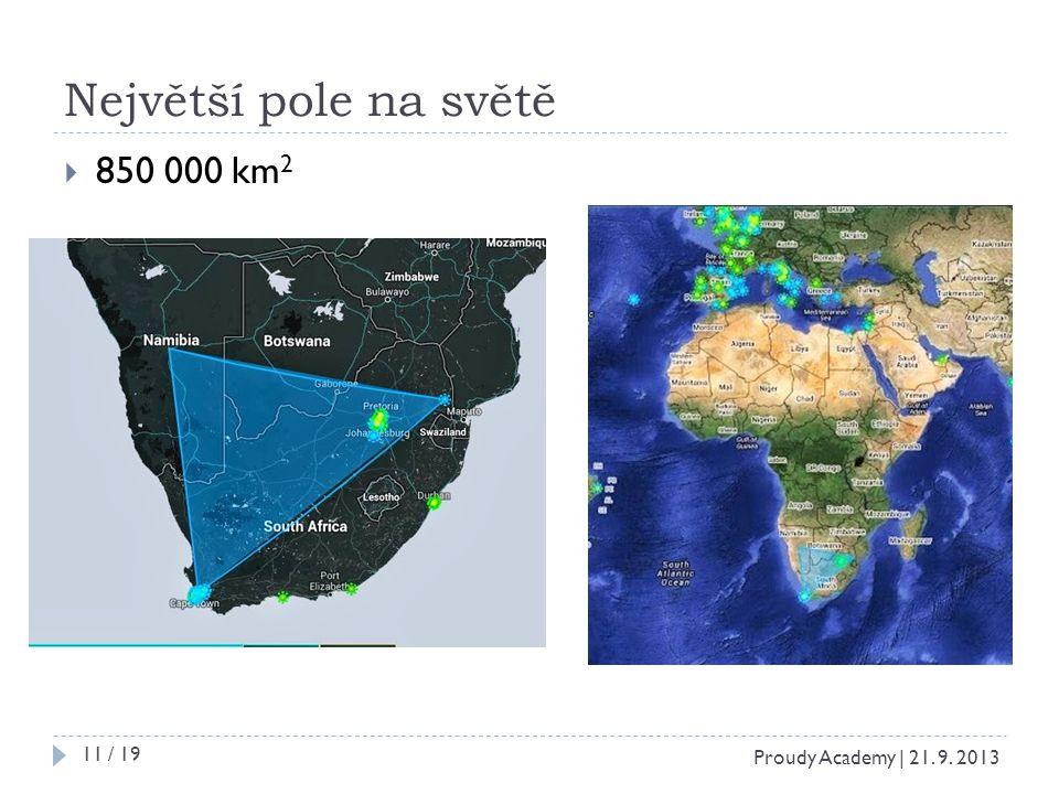 Největší pole na světě  850 000 km 2 Proudy Academy | 21. 9. 2013 11 / 19
