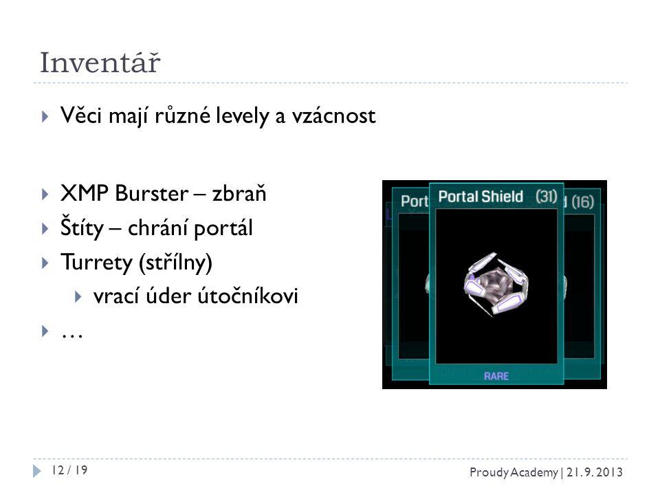 Inventář  Věci mají různé levely a vzácnost  XMP Burster – zbraň  Štíty – chrání portál  Turrety (střílny)  vrací úder útočníkovi  … Proudy Academy | 21.