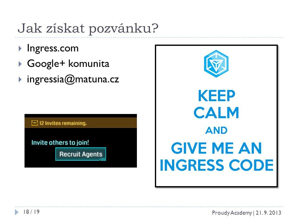Jak získat pozvánku.  Ingress.com  Google+ komunita  ingressia@matuna.cz Proudy Academy | 21.