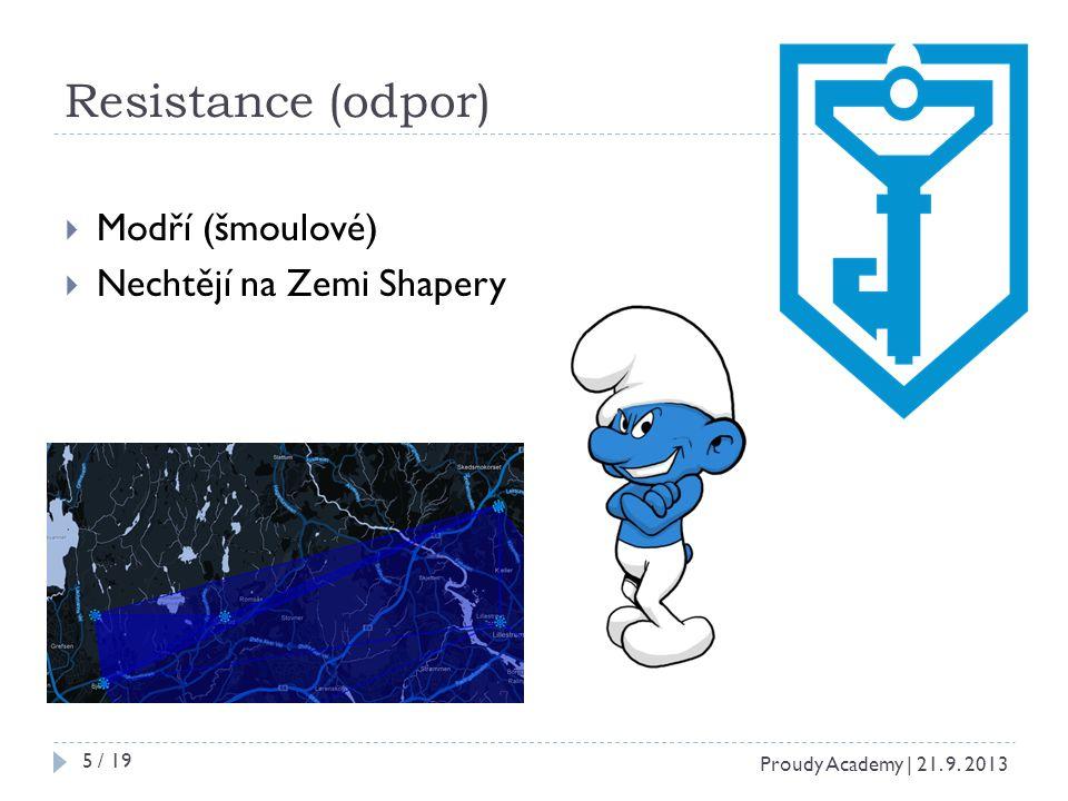 Resistance (odpor)  Modří (šmoulové)  Nechtějí na Zemi Shapery Proudy Academy | 21. 9. 2013 5 / 19