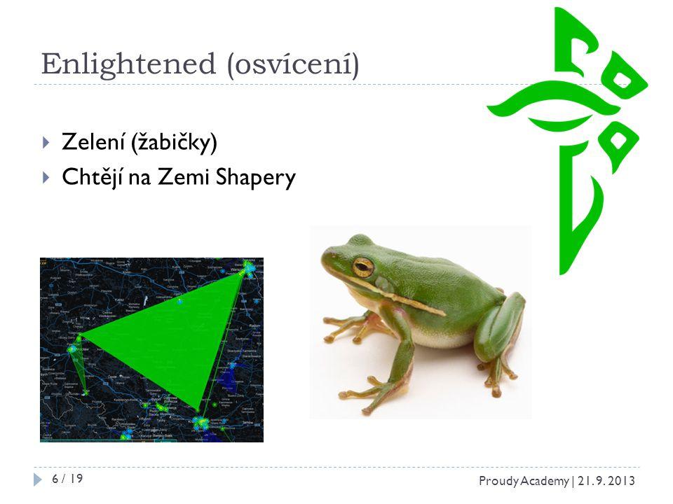 Enlightened (osvícení)  Zelení (žabičky)  Chtějí na Zemi Shapery Proudy Academy | 21. 9. 2013 6 / 19