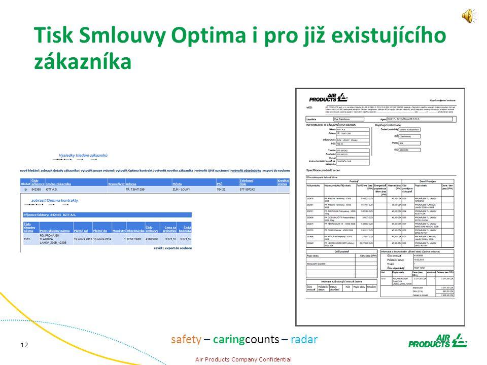 12 Air Products Company Confidential safety – caringcounts – radar Tisk Smlouvy Optima i pro již existujícího zákazníka