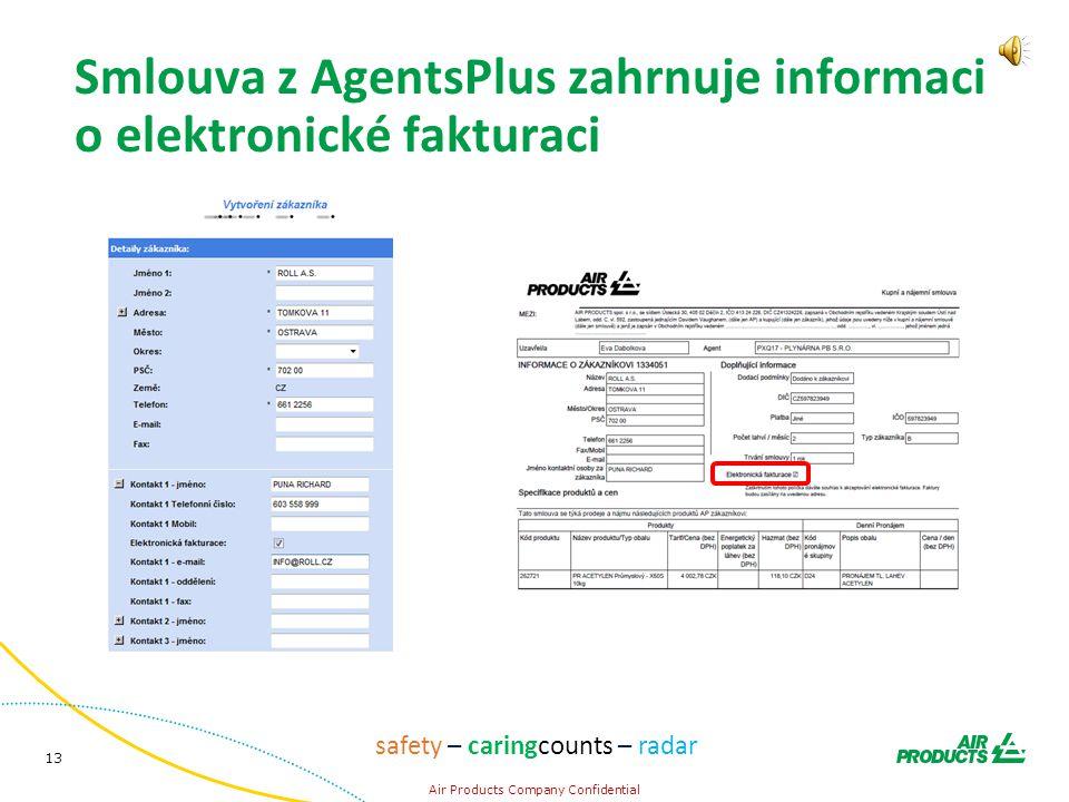 13 Air Products Company Confidential safety – caringcounts – radar Smlouva z AgentsPlus zahrnuje informaci o elektronické fakturaci