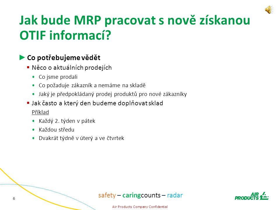 6 Air Products Company Confidential safety – caringcounts – radar Jak bude MRP pracovat s nově získanou OTIF informací.