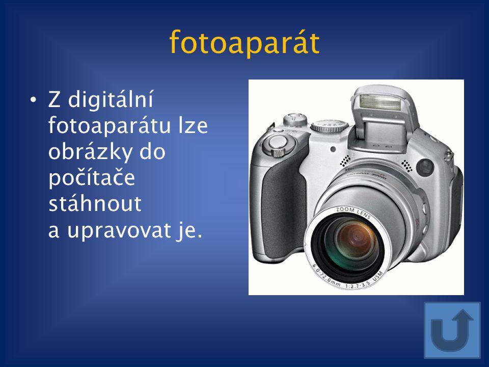 fotoaparát Z digitální fotoaparátu lze obrázky do počítače stáhnout a upravovat je.