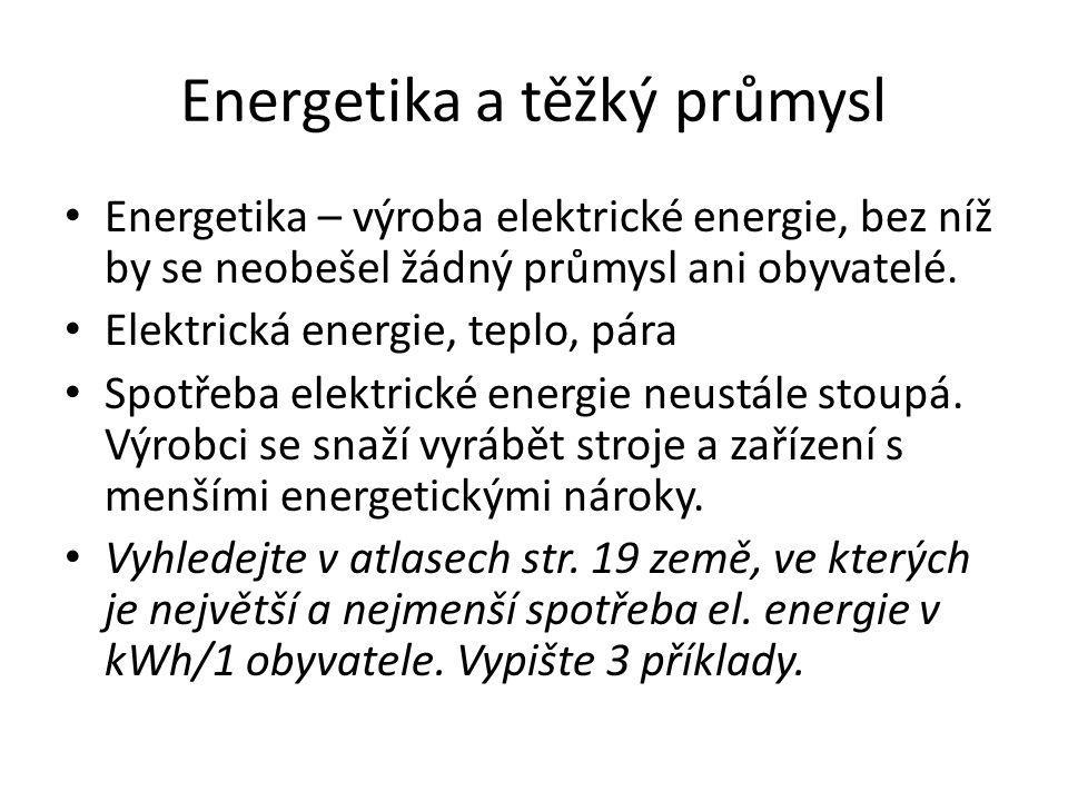 Energetika a těžký průmysl Energetika – výroba elektrické energie, bez níž by se neobešel žádný průmysl ani obyvatelé.