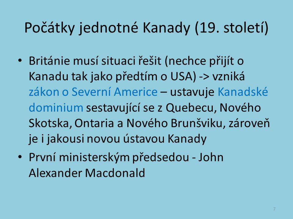 Počátky jednotné Kanady (19.