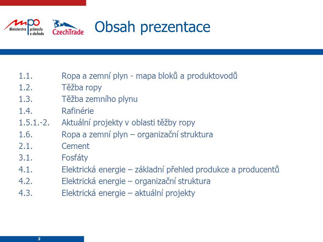 2 Obsah prezentace 2 1.1.Ropa a zemní plyn - mapa bloků a produktovodů 1.2.Těžba ropy 1.3.Těžba zemního plynu 1.4.Rafinérie 1.5.1.-2.Aktuální projekty v oblasti těžby ropy 1.6.Ropa a zemní plyn – organizační struktura 2.1.Cement 3.1.Fosfáty 4.1.Elektrická energie – základní přehled produkce a producentů 4.2.Elektrická energie – organizační struktura 4.3.Elektrická energie – aktuální projekty