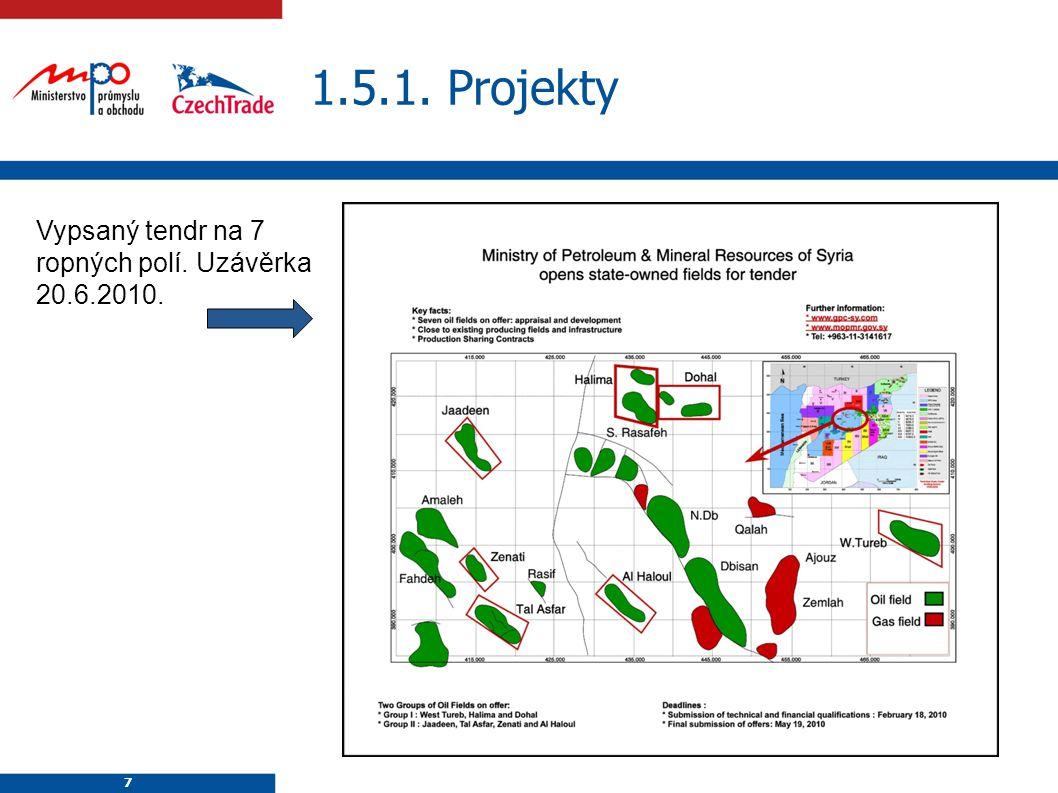 7 1.5.1. Projekty 7 Vypsaný tendr na 7 ropných polí. Uzávěrka 20.6.2010.