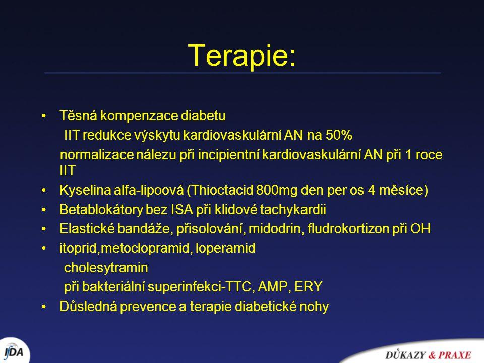 Terapie: Těsná kompenzace diabetu IIT redukce výskytu kardiovaskulární AN na 50% normalizace nálezu při incipientní kardiovaskulární AN při 1 roce IIT