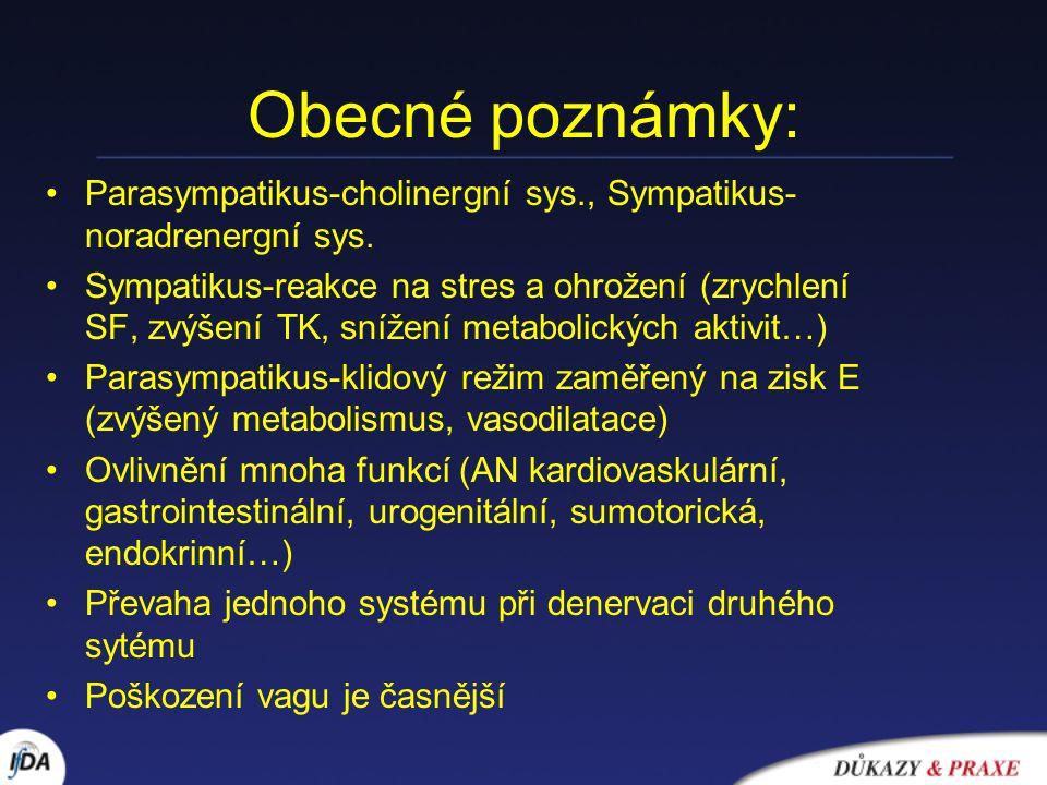 Obecné poznámky: Parasympatikus-cholinergní sys., Sympatikus- noradrenergní sys. Sympatikus-reakce na stres a ohrožení (zrychlení SF, zvýšení TK, sníž