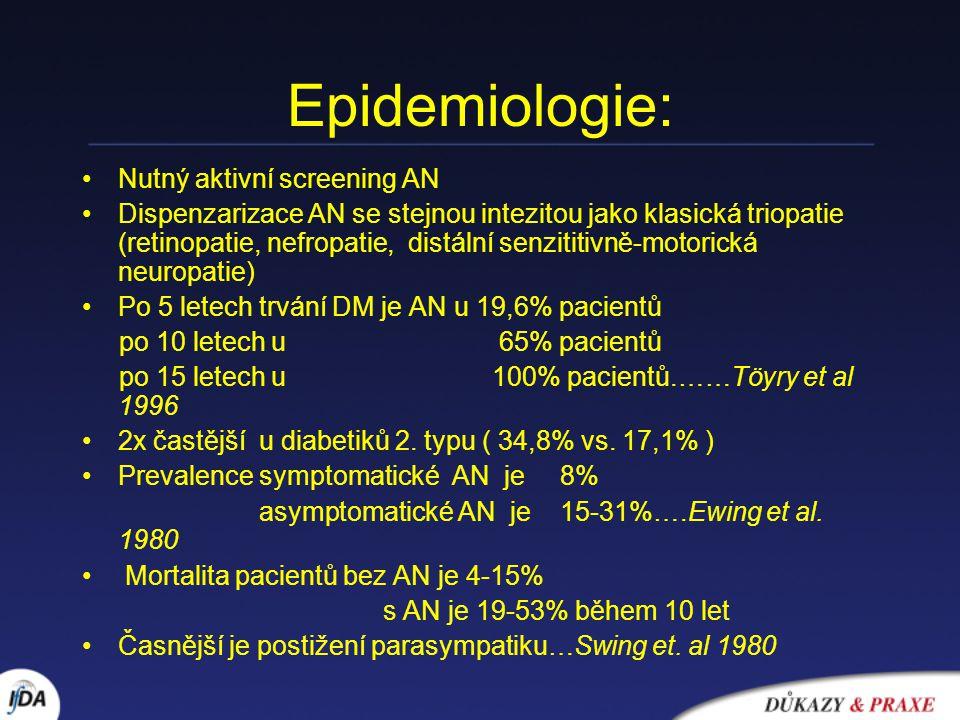 Epidemiologie: Nutný aktivní screening AN Dispenzarizace AN se stejnou intezitou jako klasická triopatie (retinopatie, nefropatie, distální senzititiv