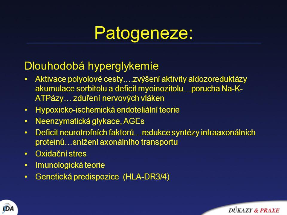 Patogeneze: Dlouhodobá hyperglykemie Aktivace polyolové cesty….zvýšení aktivity aldozoreduktázy akumulace sorbitolu a deficit myoinozitolu…porucha Na-