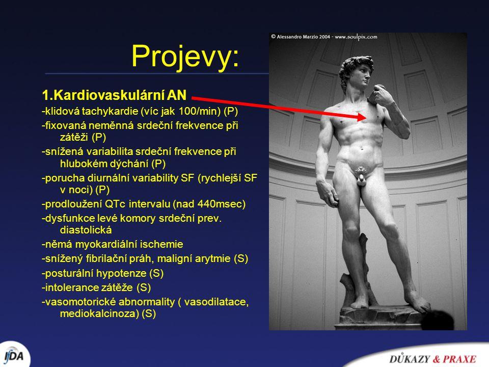 Projevy: 1.Kardiovaskulární AN -klidová tachykardie (víc jak 100/min) (P) -fixovaná neměnná srdeční frekvence při zátěži (P) -snížená variabilita srde