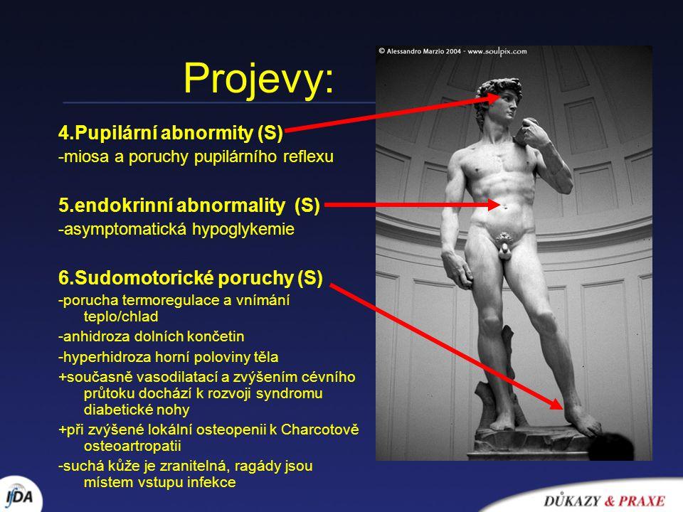 Projevy: 4.Pupilární abnormity (S) -miosa a poruchy pupilárního reflexu 5.endokrinní abnormality (S) -asymptomatická hypoglykemie 6.Sudomotorické poru