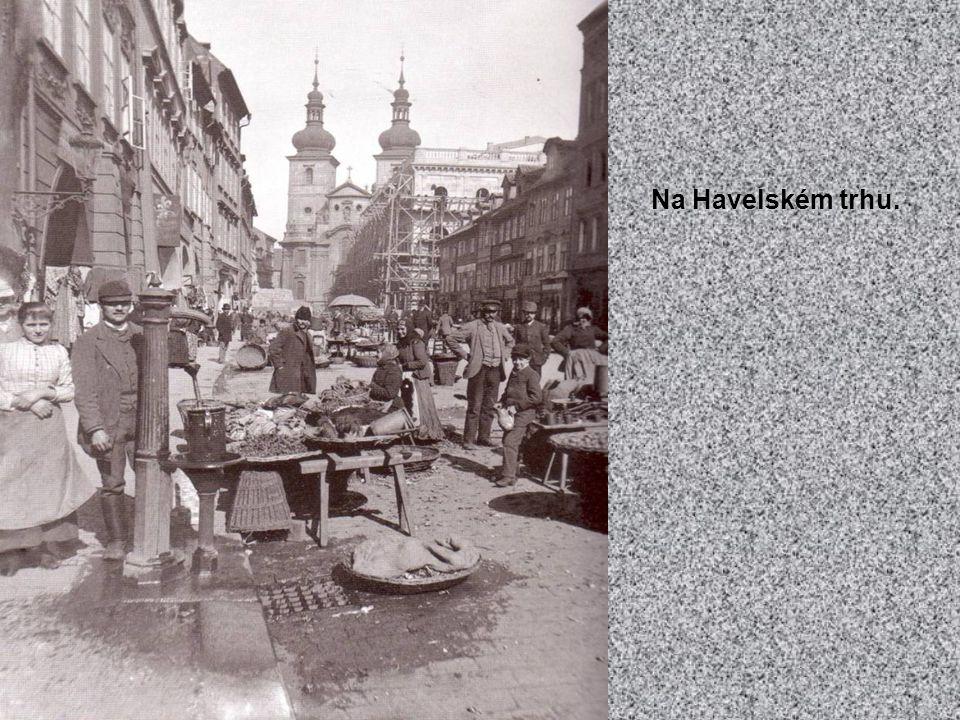 Vodičkova ulice na snímku pořízeném od rohu Palackého ulice. 80. léta 19. století.