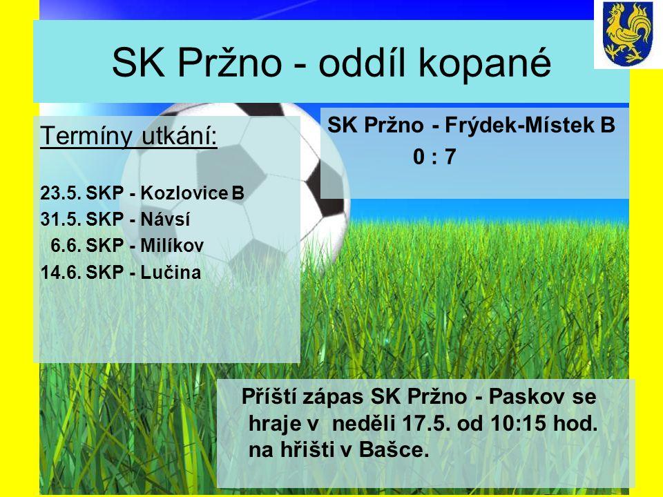 SK Pržno - oddíl kopané Termíny utkání: 23.5. SKP - Kozlovice B 31.5.