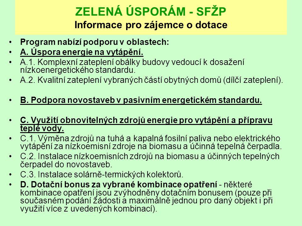 ZELENÁ ÚSPORÁM - SFŽP Informace pro zájemce o dotace Program nabízí podporu v oblastech: A. Úspora energie na vytápění. A.1. Komplexní zateplení obálk