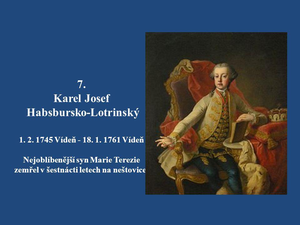 6. Marie Alžběta Habsbursko-Lotrinská 13. 7. 1743 - 22. 9. 1808 Nikdy se nevdala a po matčině smrti se stala abatyší Ústavu šlechtičen v Innsbrucku. B