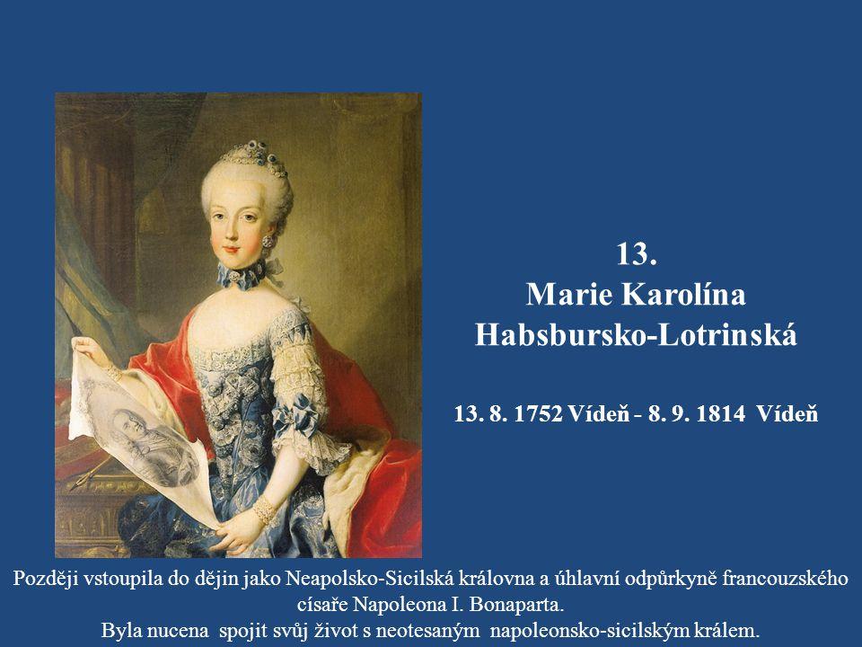 12. Marie Josefa Habsbursko-Lotrinská 19. 3. 1751 Vídeň - 15. 10. 1767 Vídeň Těsně před svatbou ve věku šestnácti let onemocněla neštovicemi a zemřela