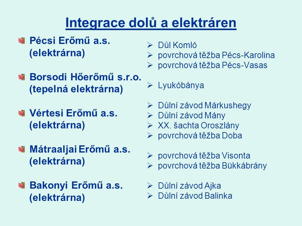 Integrace dolů a elektráren Pécsi Erőmű a.s. (elektrárna) Borsodi Hőerőmű s.r.o.