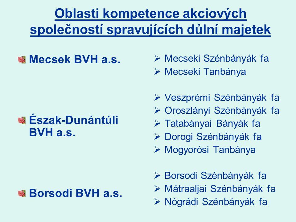 Oblasti kompetence akciových společností spravujících důlní majetek Mecsek BVH a.s.