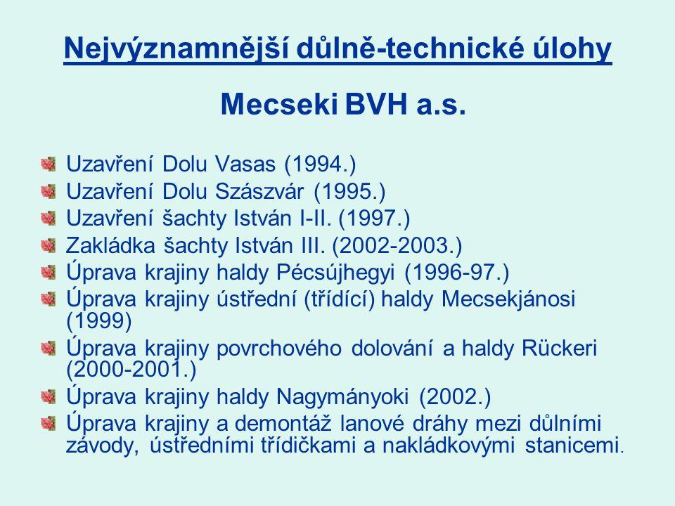 Nejvýznamnější důlně-technické úlohy Uzavření Dolu Vasas (1994.) Uzavření Dolu Szászvár (1995.) Uzavření šachty István I-II.