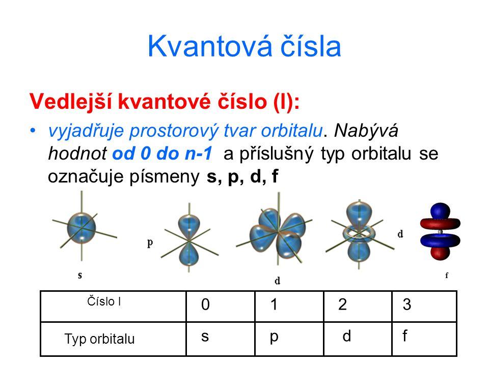 Kvantová čísla Vedlejší kvantové číslo (l): vyjadřuje prostorový tvar orbitalu. Nabývá hodnot od 0 do n ‑ 1 a příslušný typ orbitalu se označuje písme