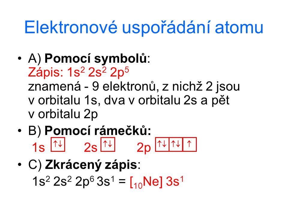 Elektronové uspořádání atomu A) Pomocí symbolů: Zápis: 1s 2 2s 2 2p 5 znamená - 9 elektronů, z nichž 2 jsou v orbitalu 1s, dva v orbitalu 2s a pět v o