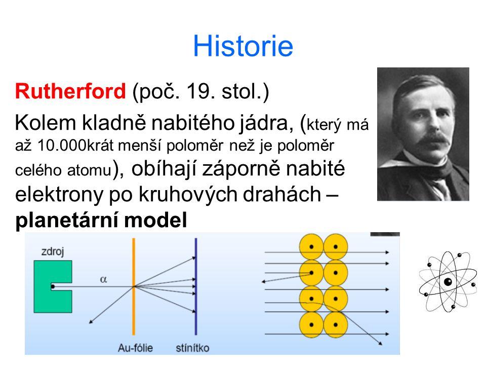 Historie Rutherford (poč. 19. stol.) Kolem kladně nabitého jádra, ( který má až 10.000krát menší poloměr než je poloměr celého atomu ), obíhají záporn
