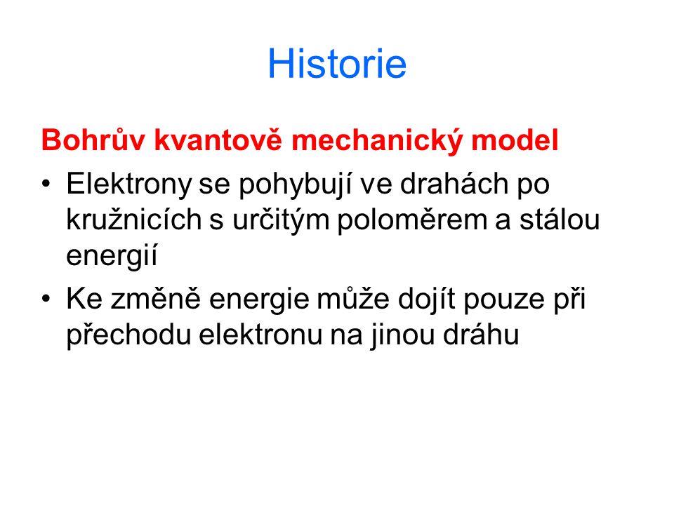 Historie Bohrův kvantově mechanický model Elektrony se pohybují ve drahách po kružnicích s určitým poloměrem a stálou energií Ke změně energie může do