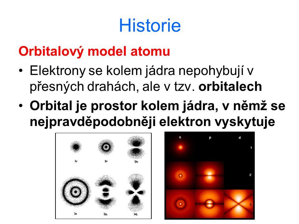 Historie Orbitalový model atomu Elektrony se kolem jádra nepohybují v přesných drahách, ale v tzv. orbitalech Orbital je prostor kolem jádra, v němž s