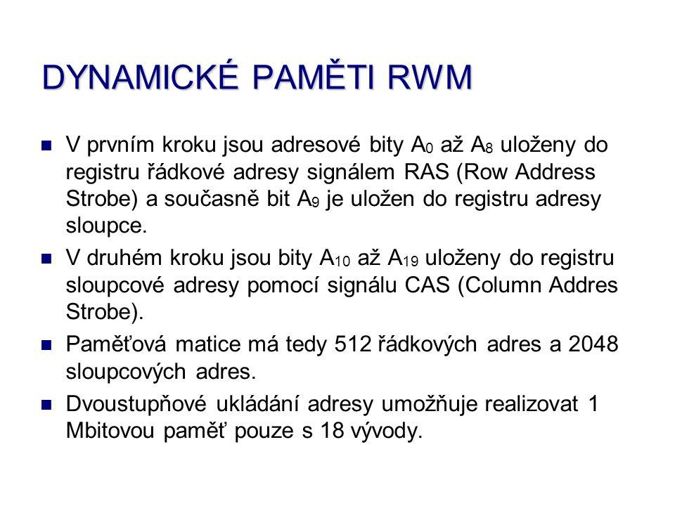 V prvním kroku jsou adresové bity A0 A0 až A8 A8 uloženy do registru řádkové adresy signálem RAS R (Row A Address S Strobe) a současně bit A9 A9 je uložen do registru adresy sloupce.