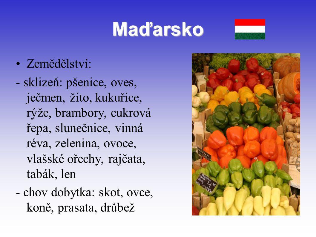 Maďarsko Zemědělství: - sklizeň: pšenice, oves, ječmen, žito, kukuřice, rýže, brambory, cukrová řepa, slunečnice, vinná réva, zelenina, ovoce, vlašské