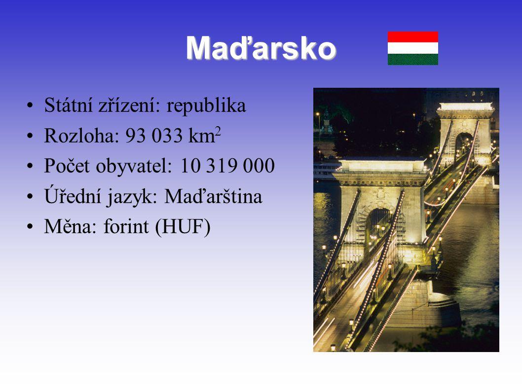 Maďarsko Státní zřízení: republika Rozloha: 93 033 km 2 Počet obyvatel: 10 319 000 Úřední jazyk: Maďarština Měna: forint (HUF)