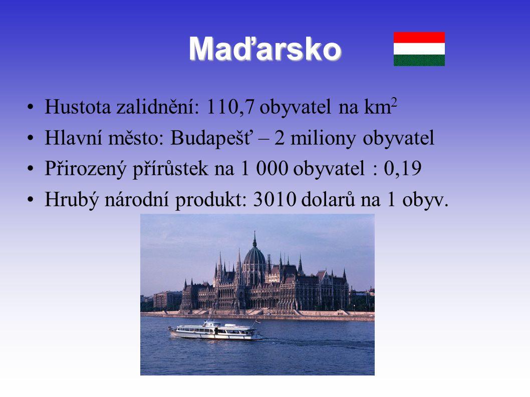 Maďarsko Hustota zalidnění: 110,7 obyvatel na km 2 Hlavní město: Budapešť – 2 miliony obyvatel Přirozený přírůstek na 1 000 obyvatel : 0,19 Hrubý náro