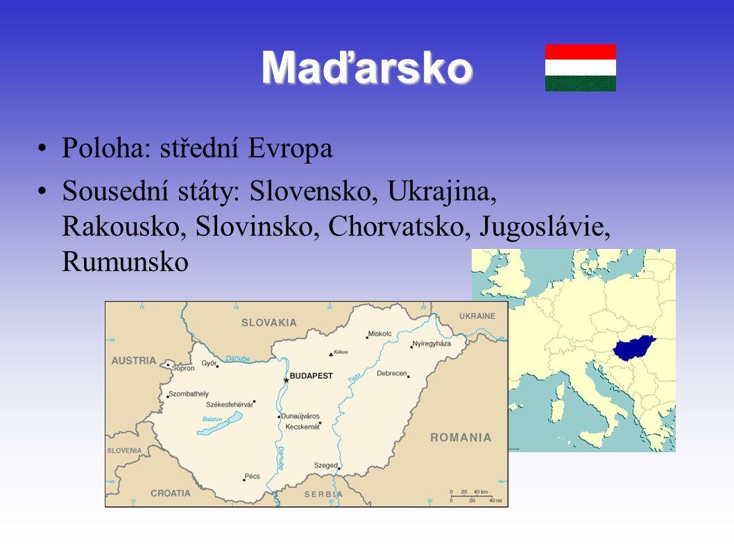 Maďarsko Poloha: střední Evropa Sousední státy: Slovensko, Ukrajina, Rakousko, Slovinsko, Chorvatsko, Jugoslávie, Rumunsko
