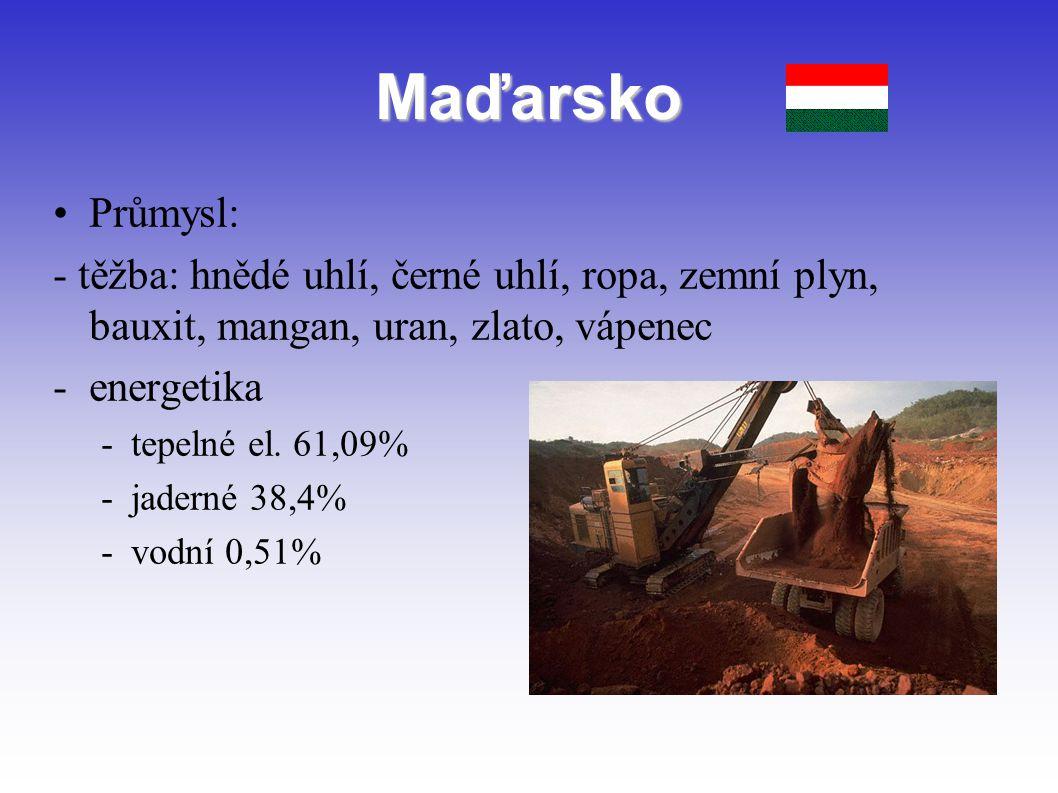 Maďarsko Průmysl: - těžba: hnědé uhlí, černé uhlí, ropa, zemní plyn, bauxit, mangan, uran, zlato, vápenec -energetika -tepelné el. 61,09% -jaderné 38,